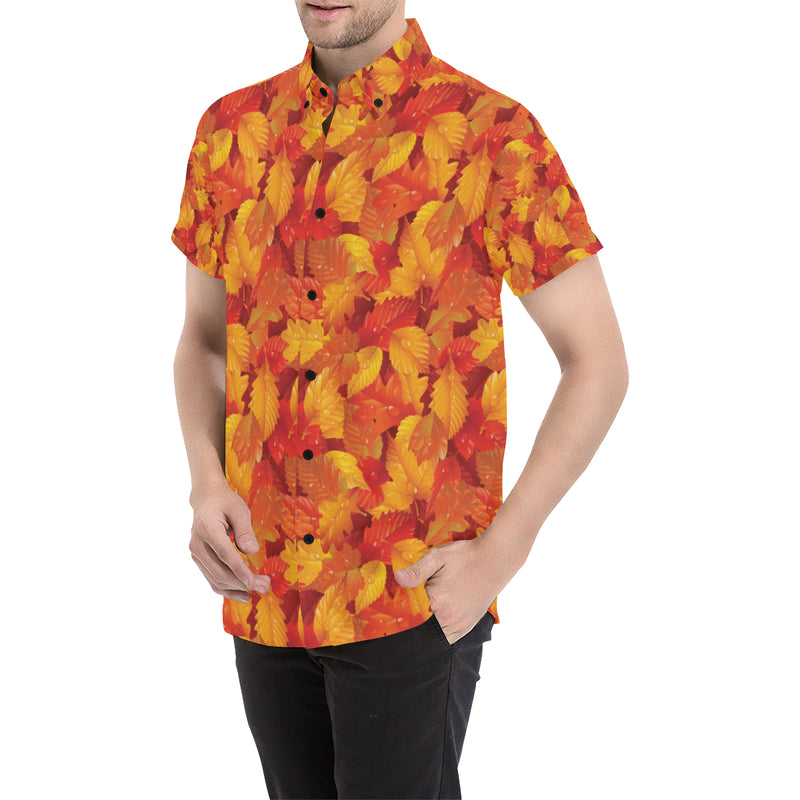 Elm Leave Autum Print Pattern Men Button Up Shirt