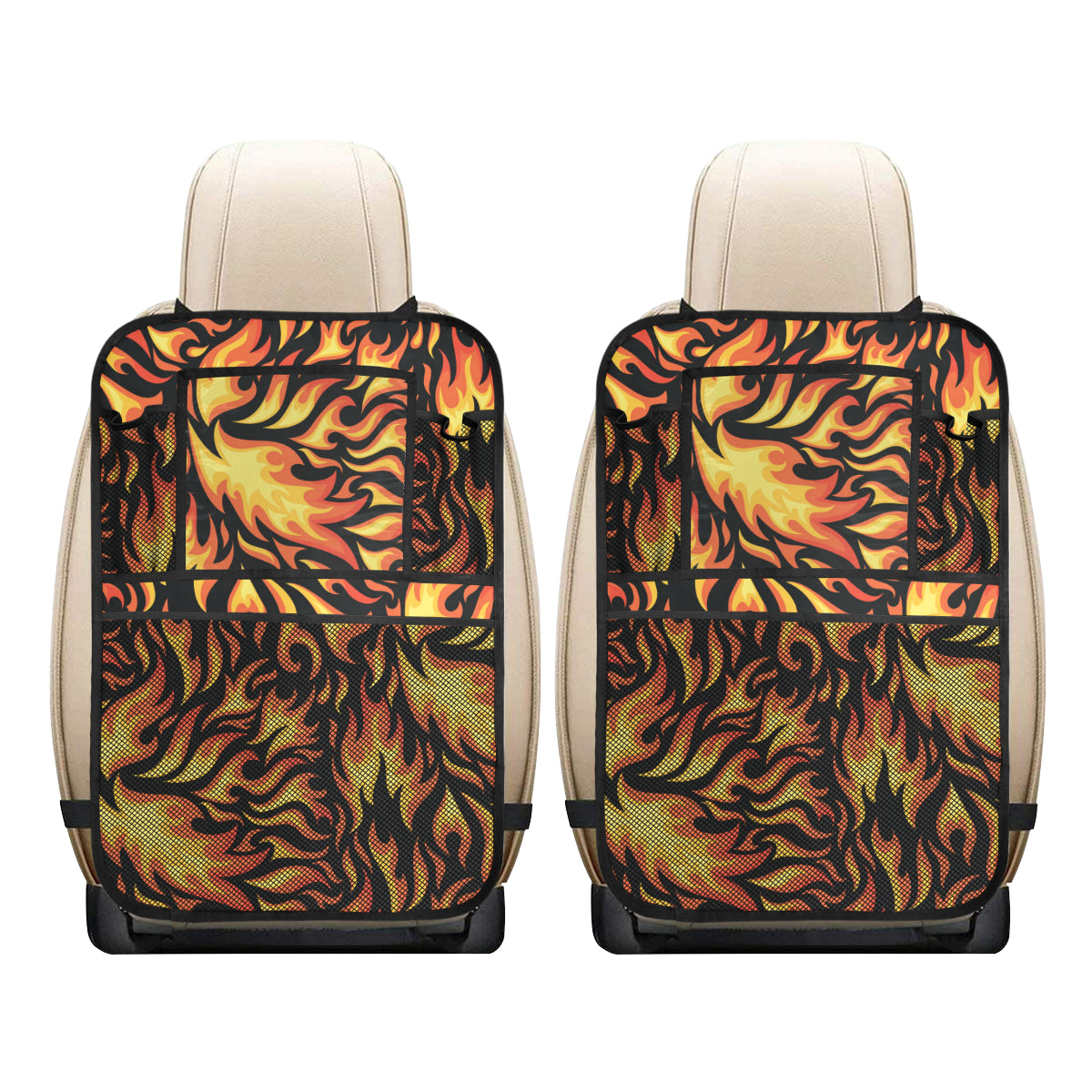 Flame Fire Design Pattern Car Back Seat Organizer