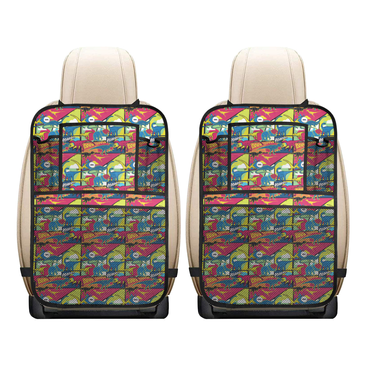 Dinosaur Comic Pop Art Style Car Back Seat Organizer