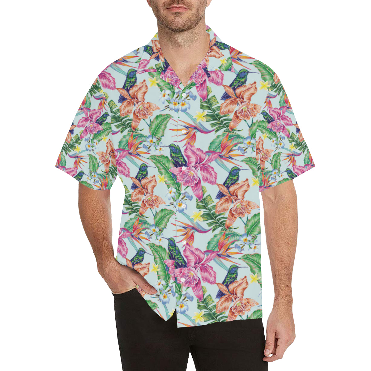 Hummingbird Tropical Pattern Print Design 05 Hawaiian Shirt
