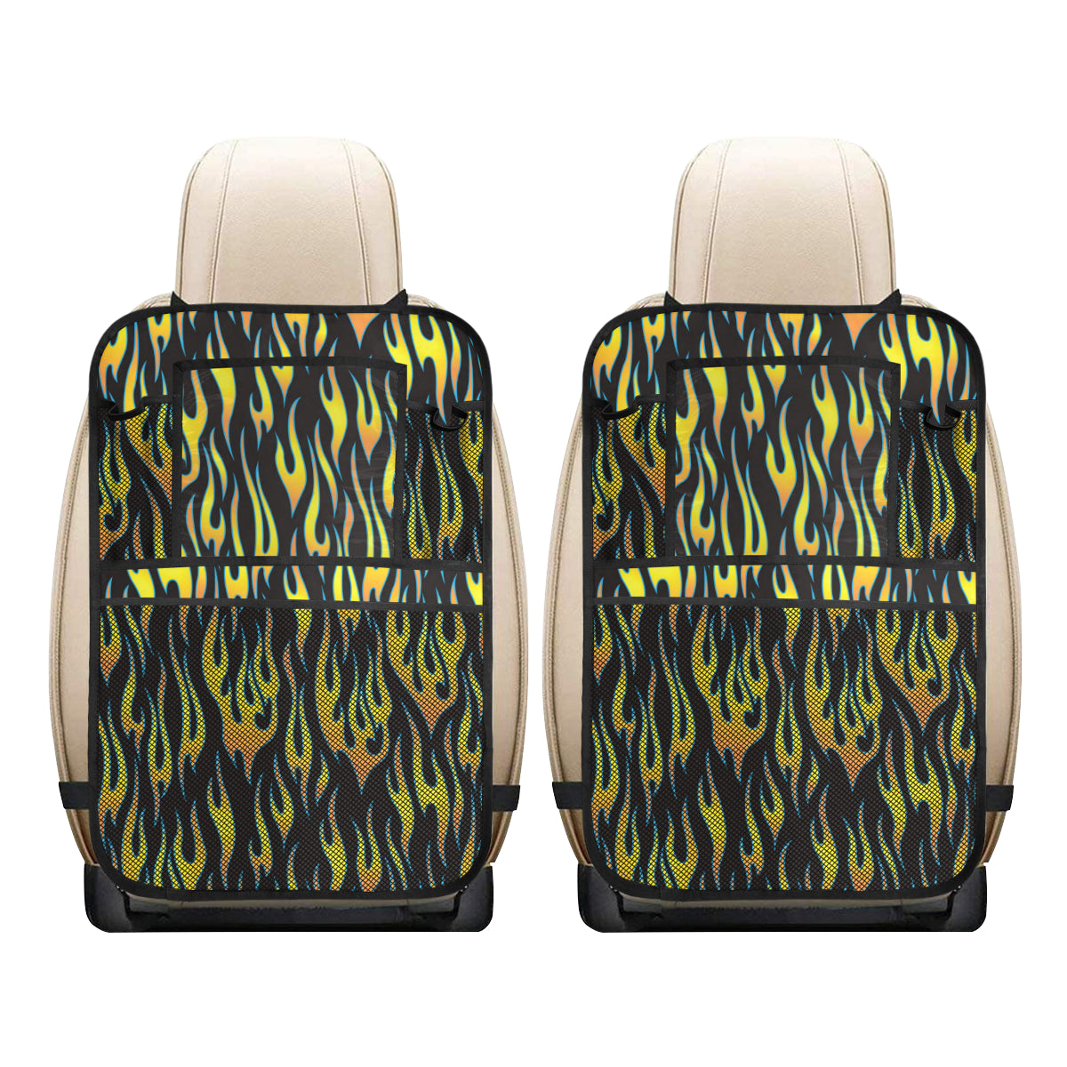Flame Fire Yellow Pattern Car Back Seat Organizer