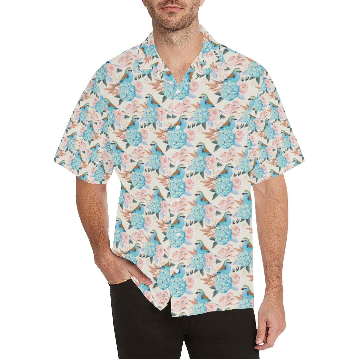 Bluebird Pattern Print Design 03 Hawaiian Shirt