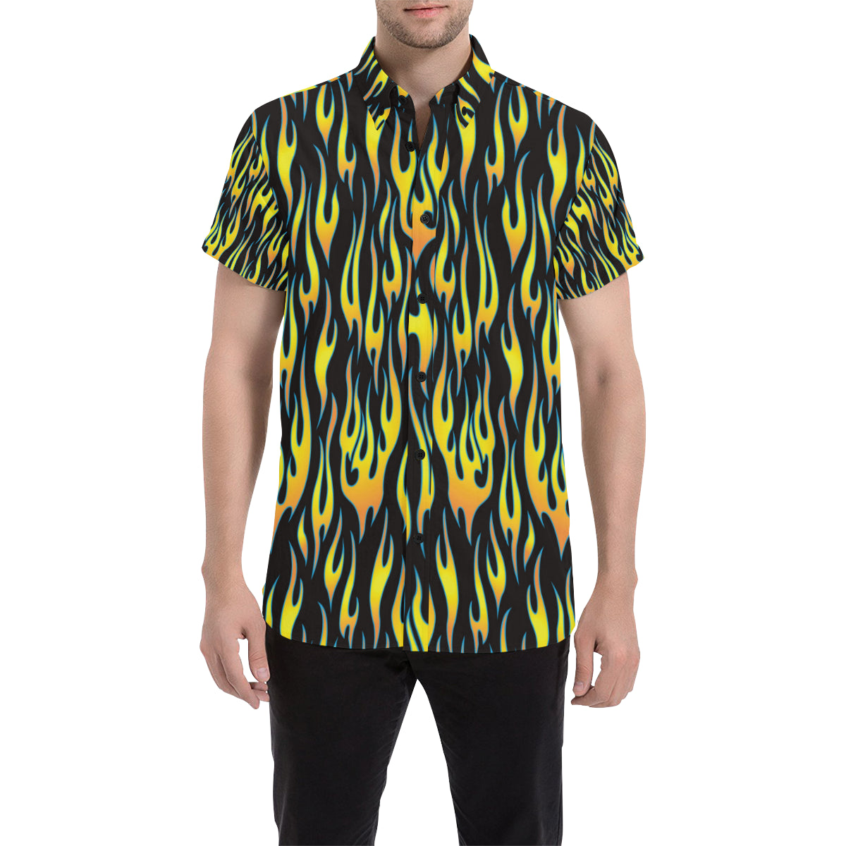Flame Fire Yellow Pattern Men Button Up Shirt