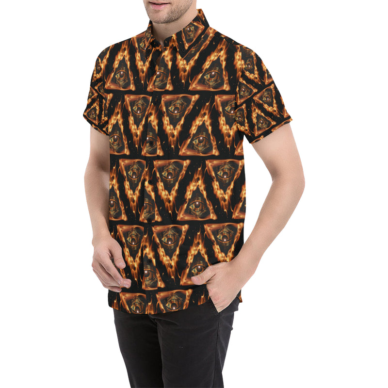 Eye of Horus in Flame Print Men Button Up Shirt
