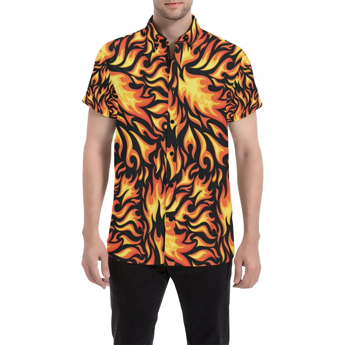 Flame Fire Design Pattern Men Button Up Shirt