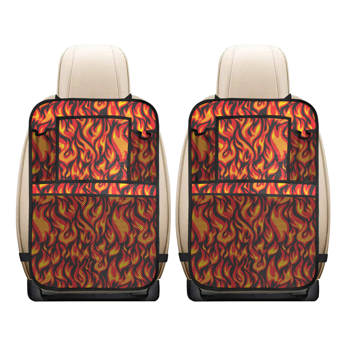 Flame Fire Print Pattern Car Back Seat Organizer
