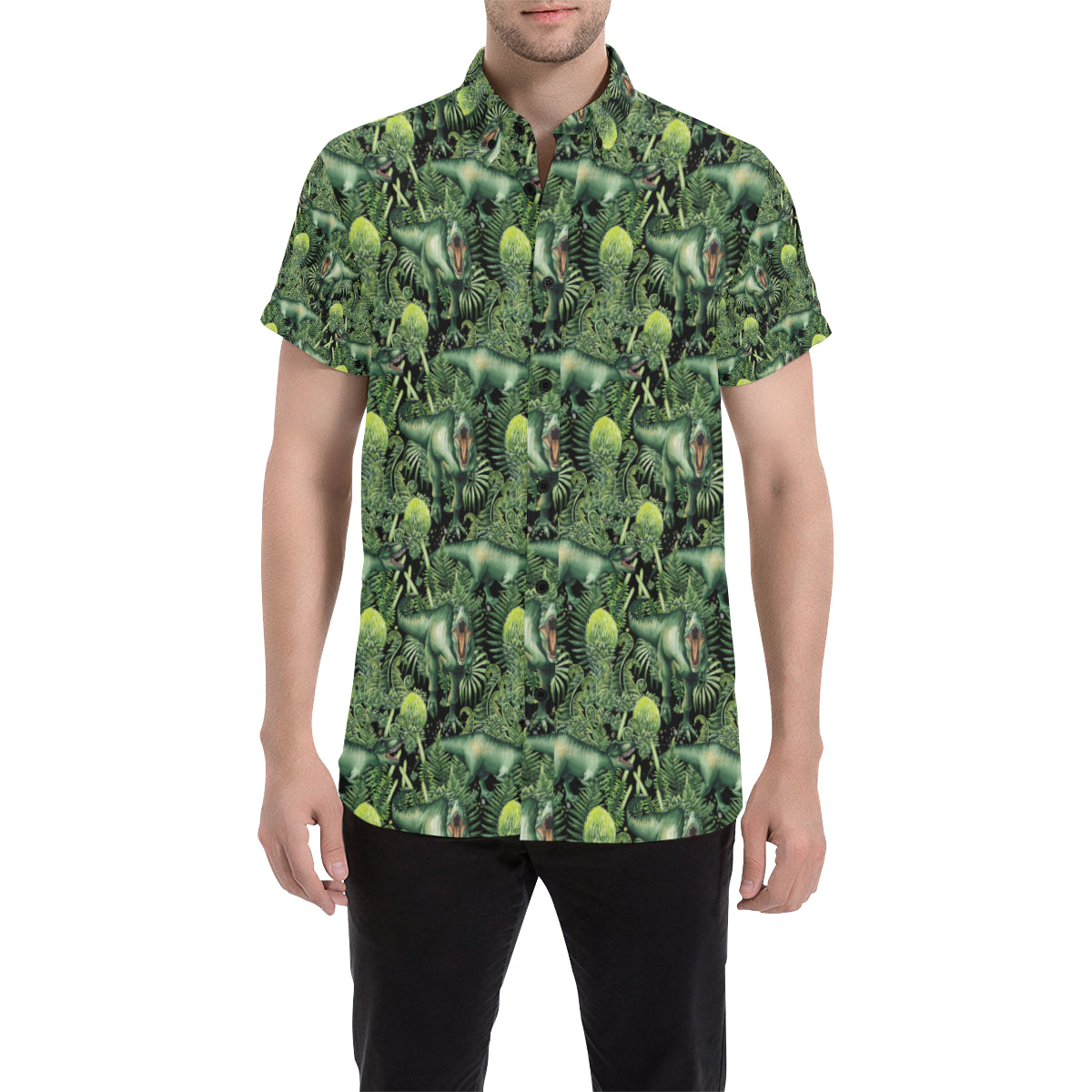 Dinosaur T Rex Print Pattern Men Button Up Shirt