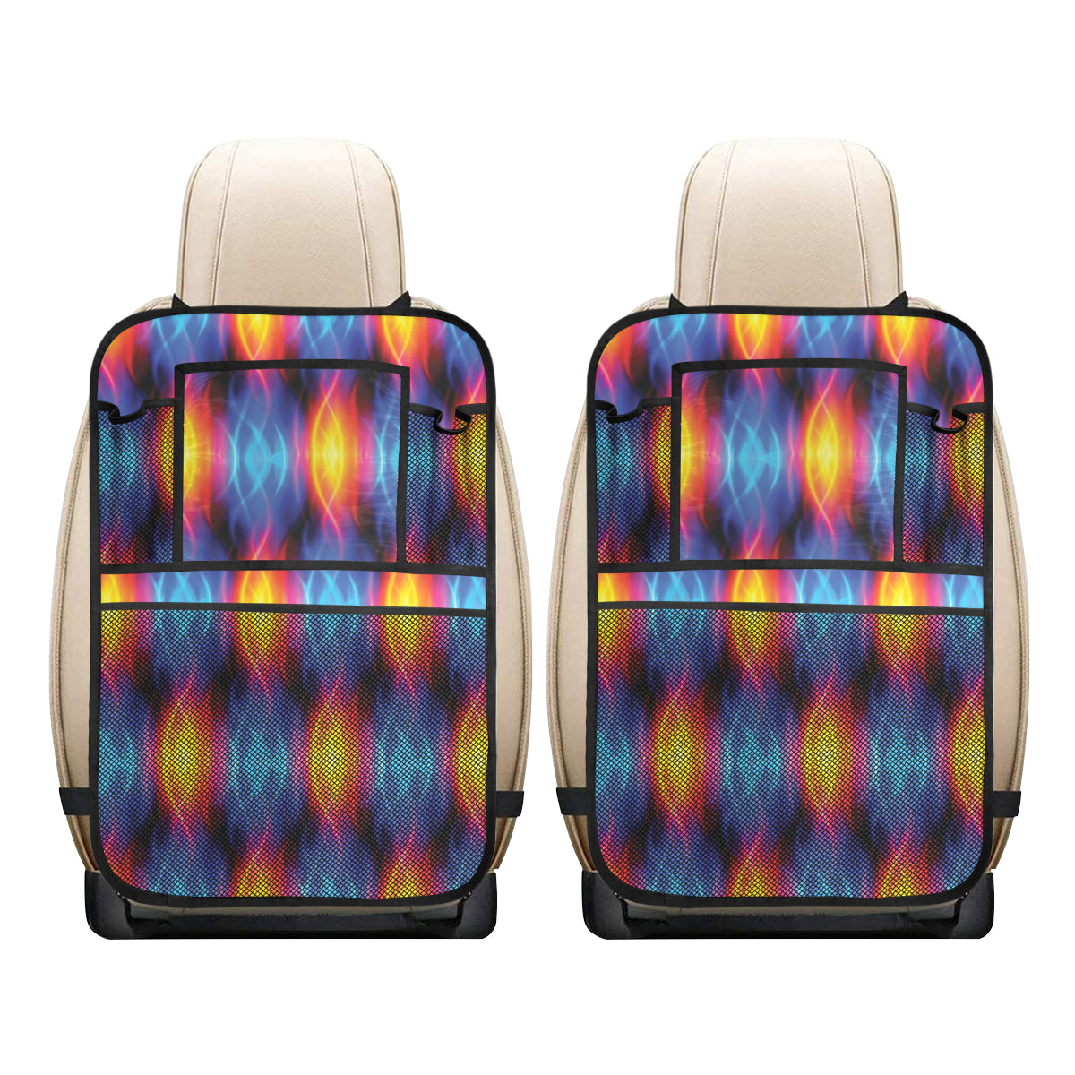 Flame Fire Blue Design Print Car Back Seat Organizer