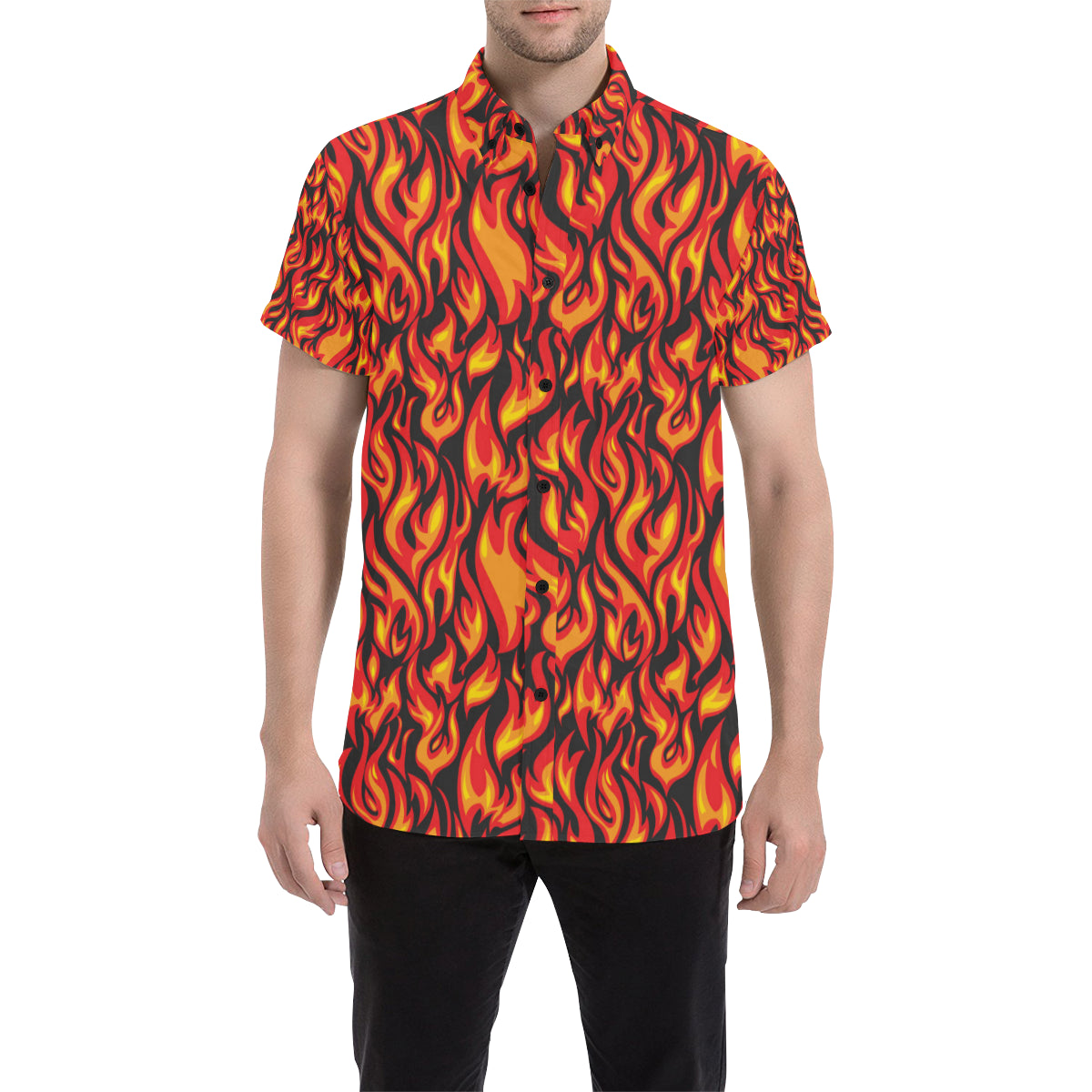 Flame Fire Print Pattern Men Button Up Shirt