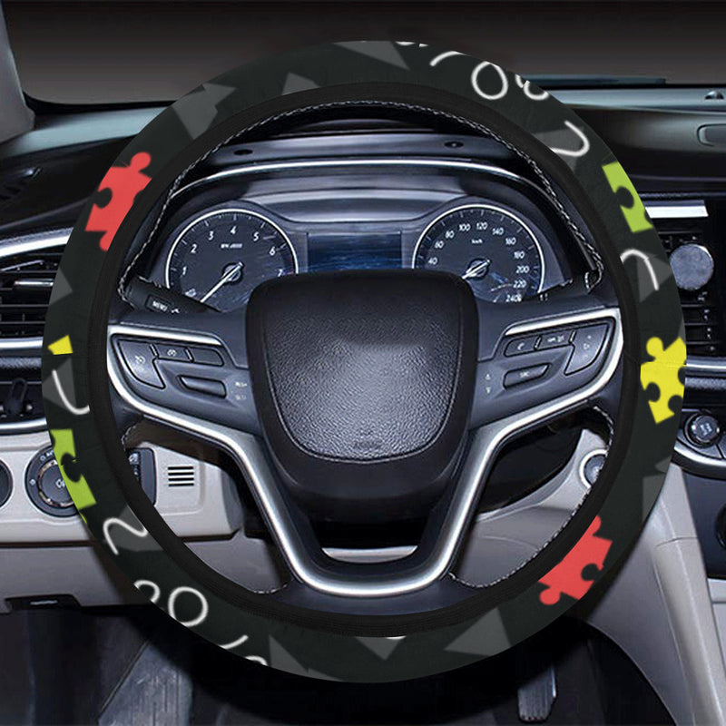 Autism Awareness Pattern Print Design 01 Steering Wheel Cover with Elastic Edge