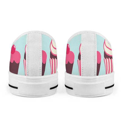 CupCake Print Pattern Women Low Top Shoes