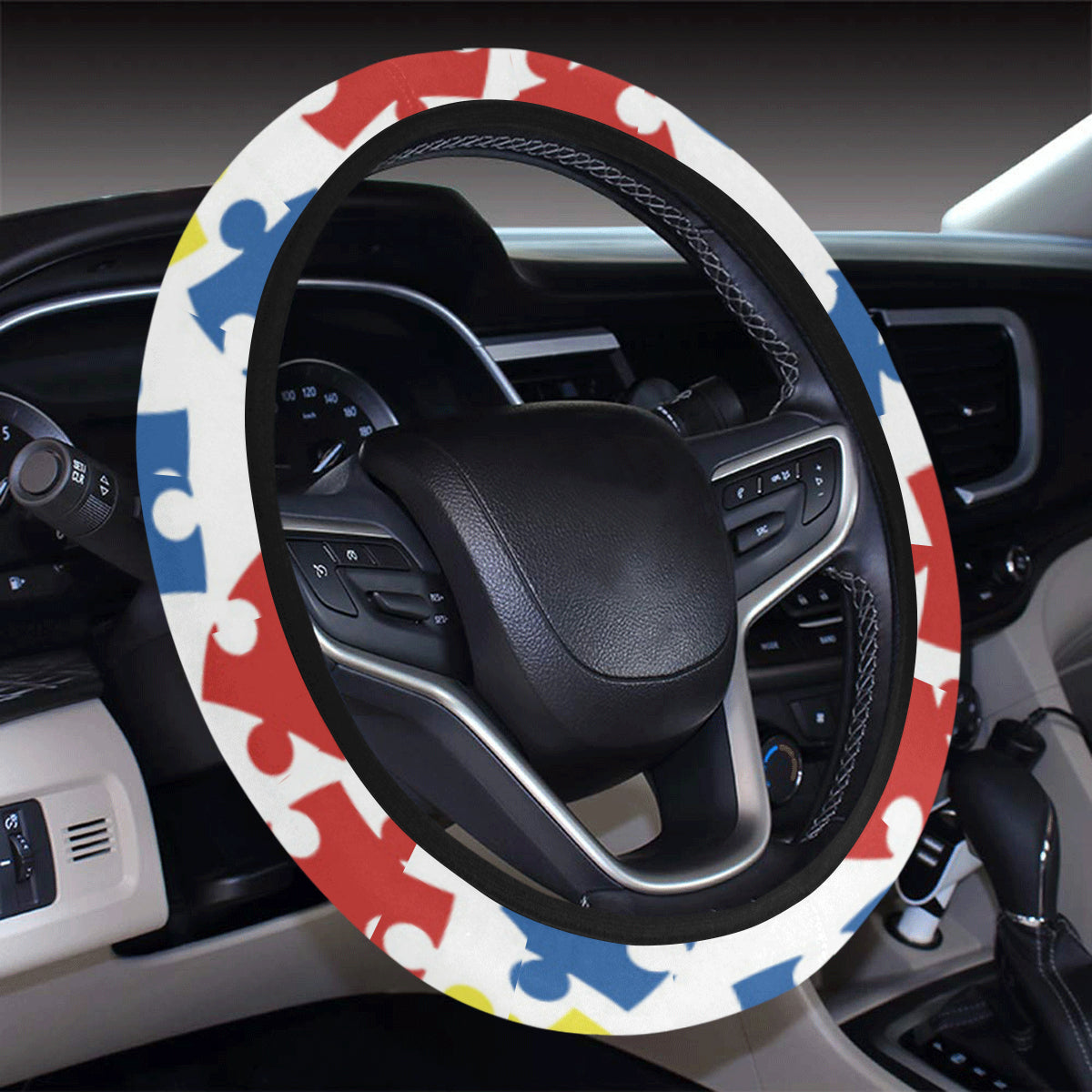 Autism Awareness Pattern Print Design 04 Steering Wheel Cover with Elastic Edge
