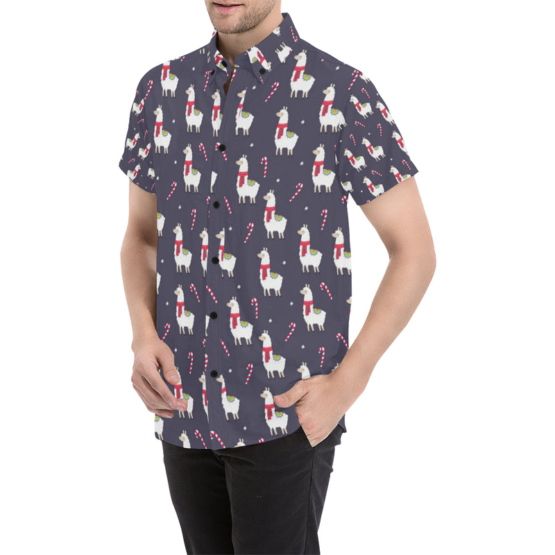Llama with Candy Cane Themed Print Men Button Up Shirt