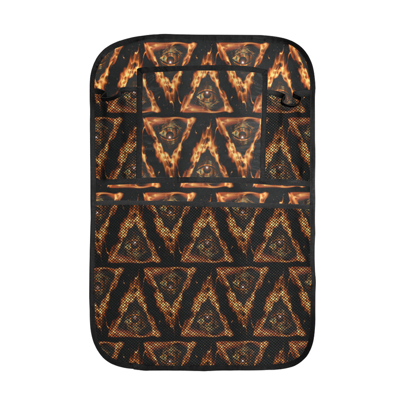 Eye of Horus in Flame Print Car Back Seat Organizer