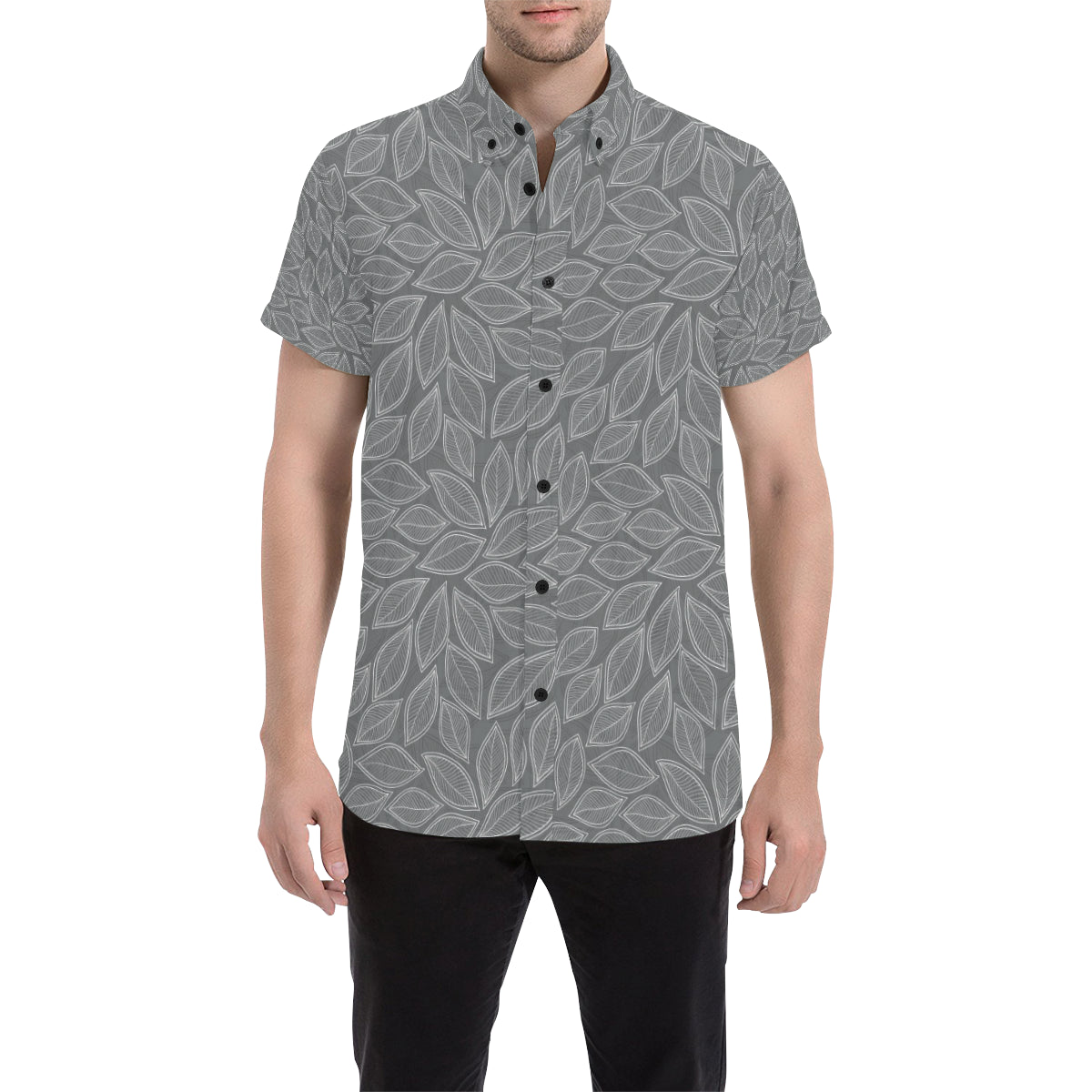 Elm Leave Grey Print Pattern Men Button Up Shirt