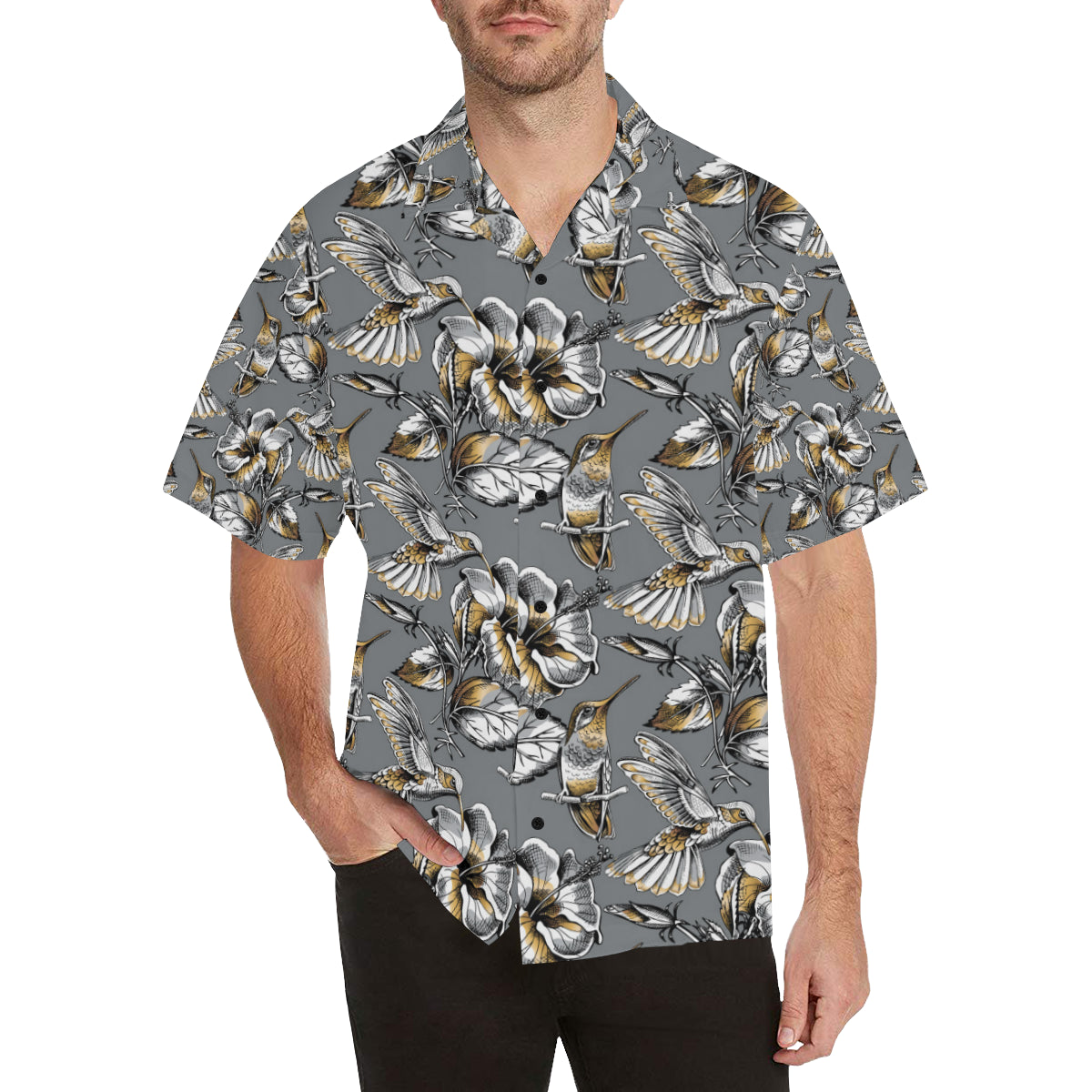 Hummingbird Pattern Print Design 02 Hawaiian Shirt