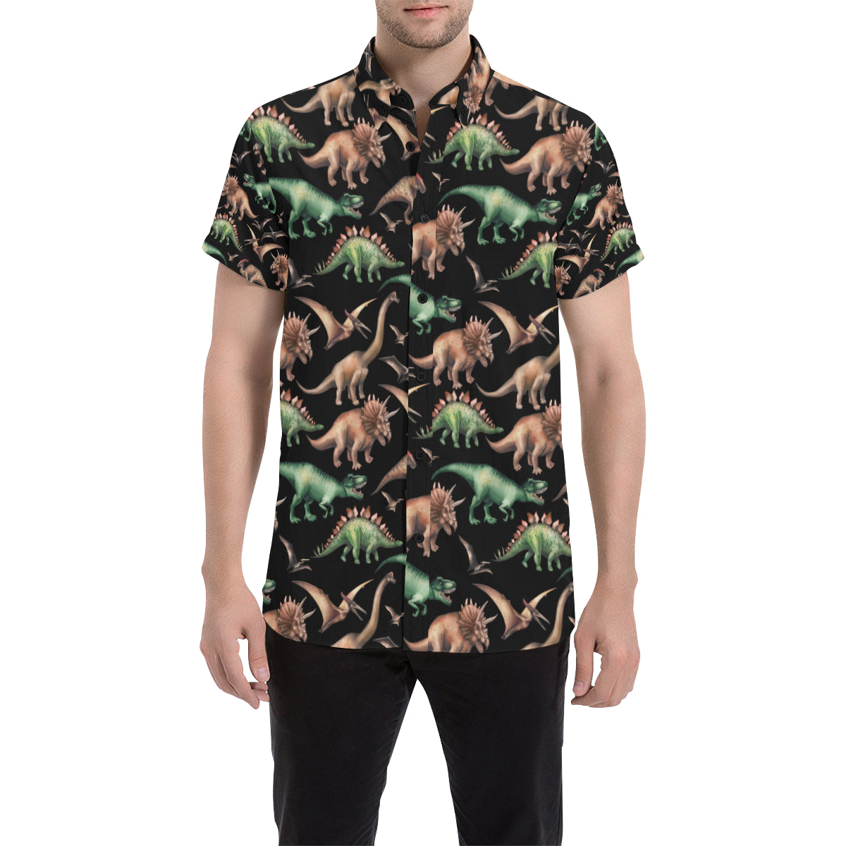Dinosaur Print Pattern Men Button Up Shirt