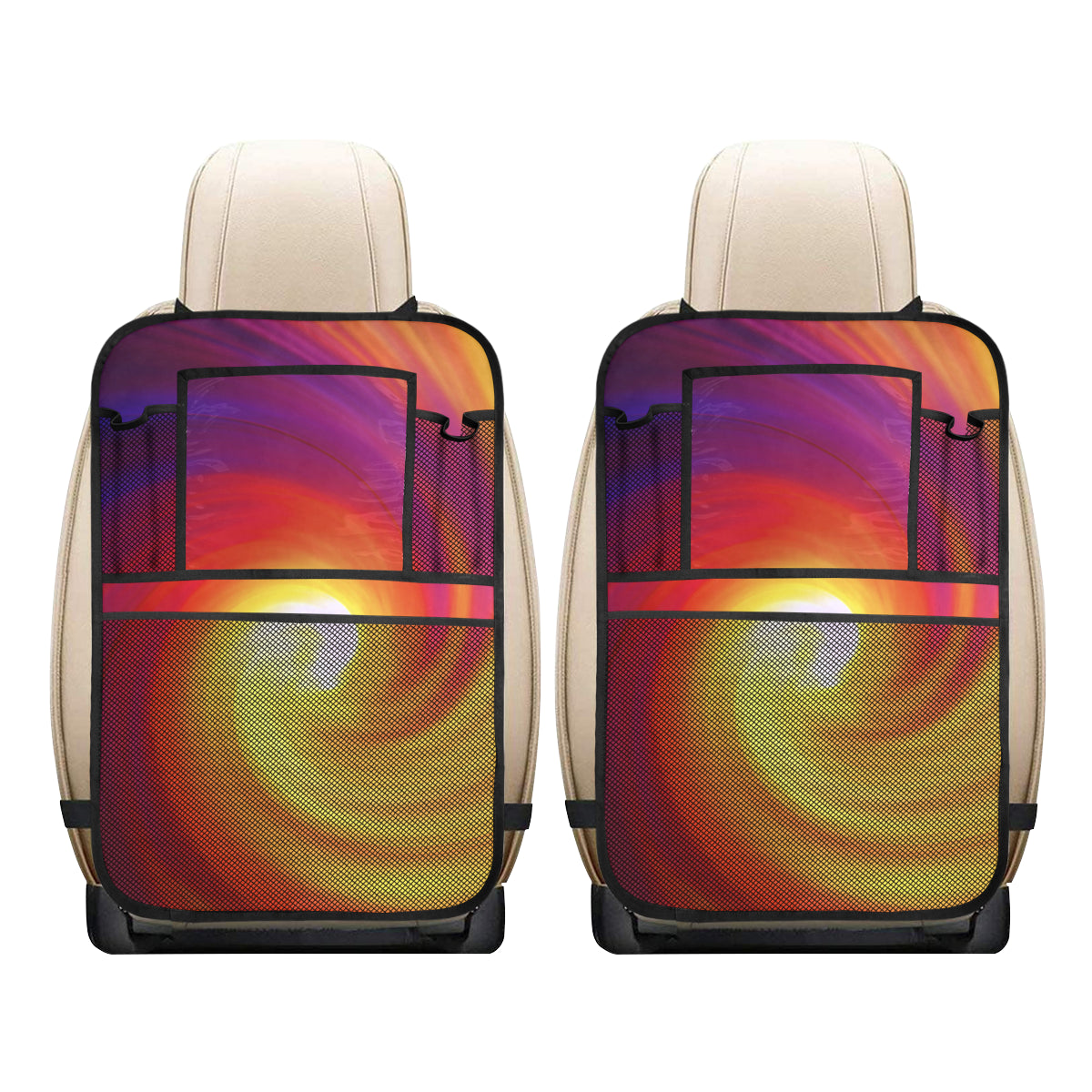 Vortex Twist Swirl Flame Themed Car Back Seat Organizer