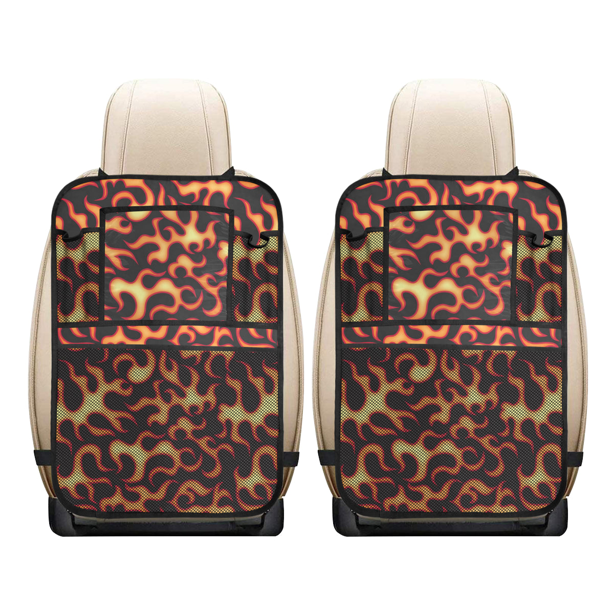 Flame Fire Themed Print Car Back Seat Organizer