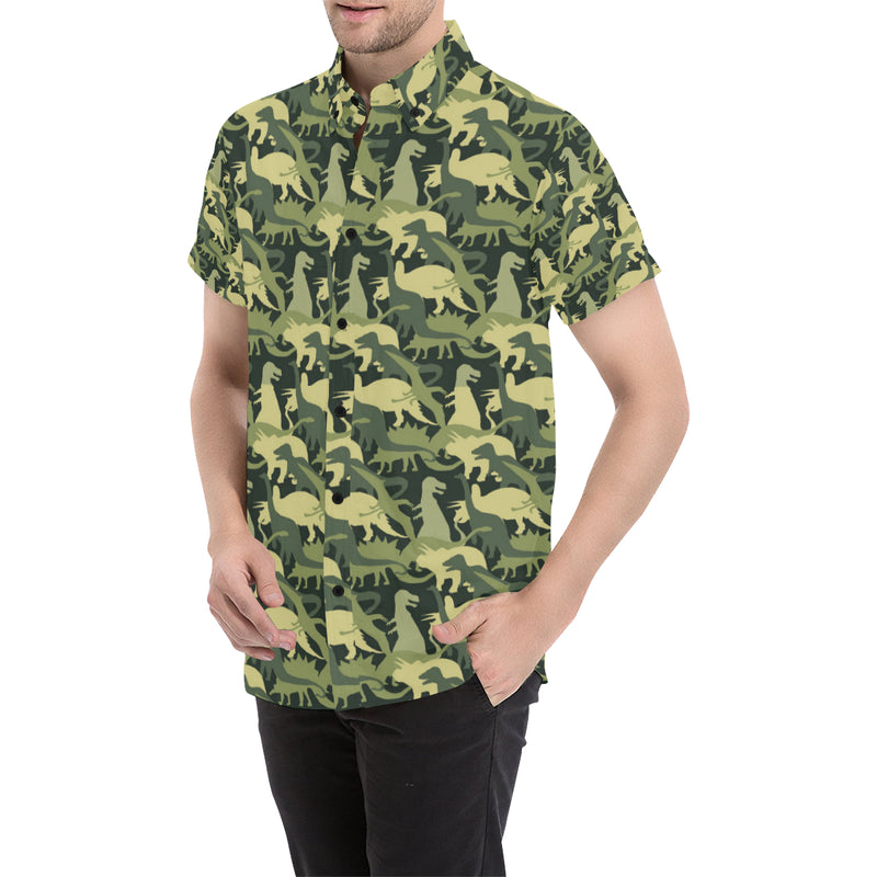 Camouflage Dinosaur Pattern Print Design 03 Men Button Up Shirt