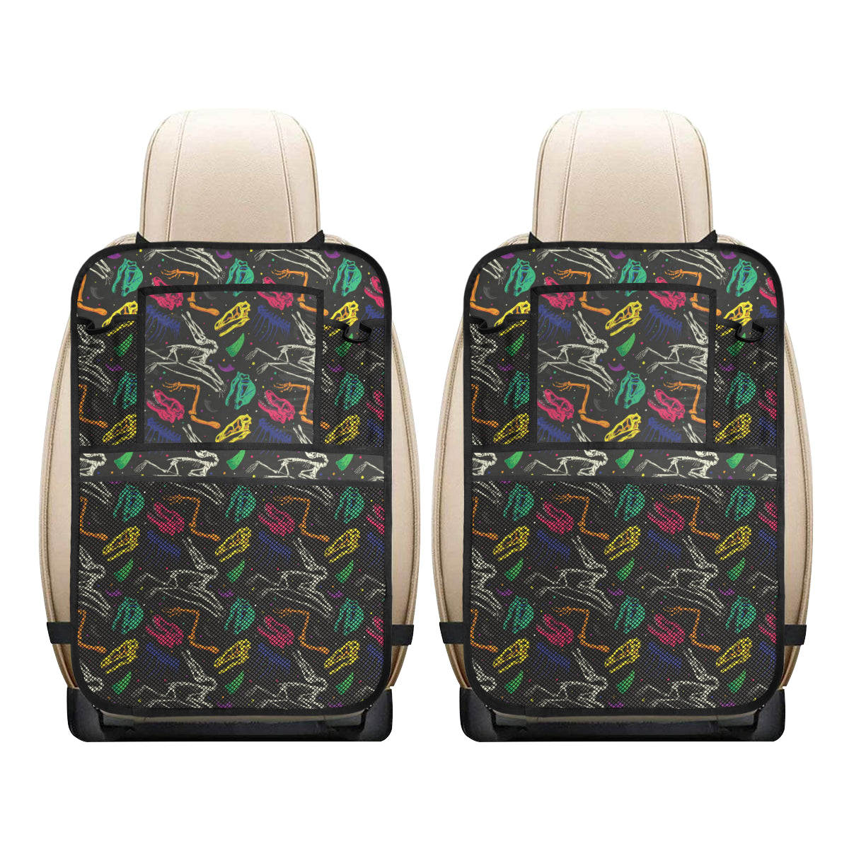 Dinosaur Skull Color Print Pattern Car Back Seat Organizer