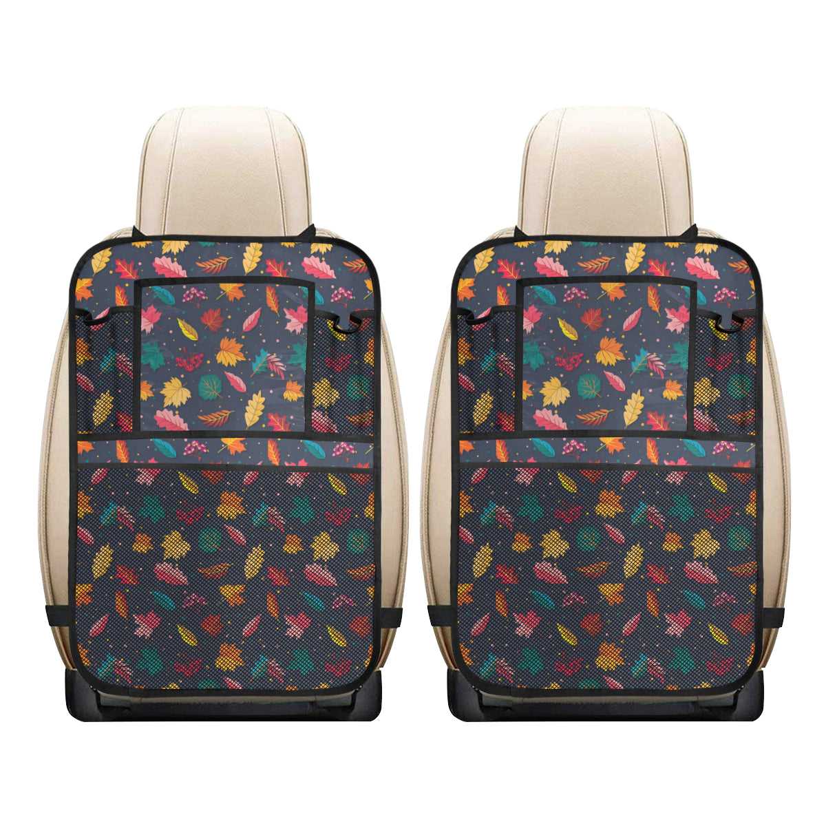 Elm Leave Colorful Print Pattern Car Back Seat Organizer