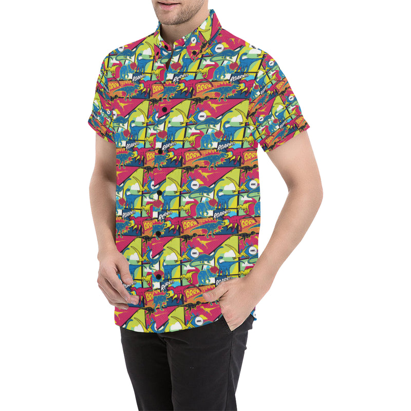 Dinosaur Comic Pop Art Style Men Button Up Shirt