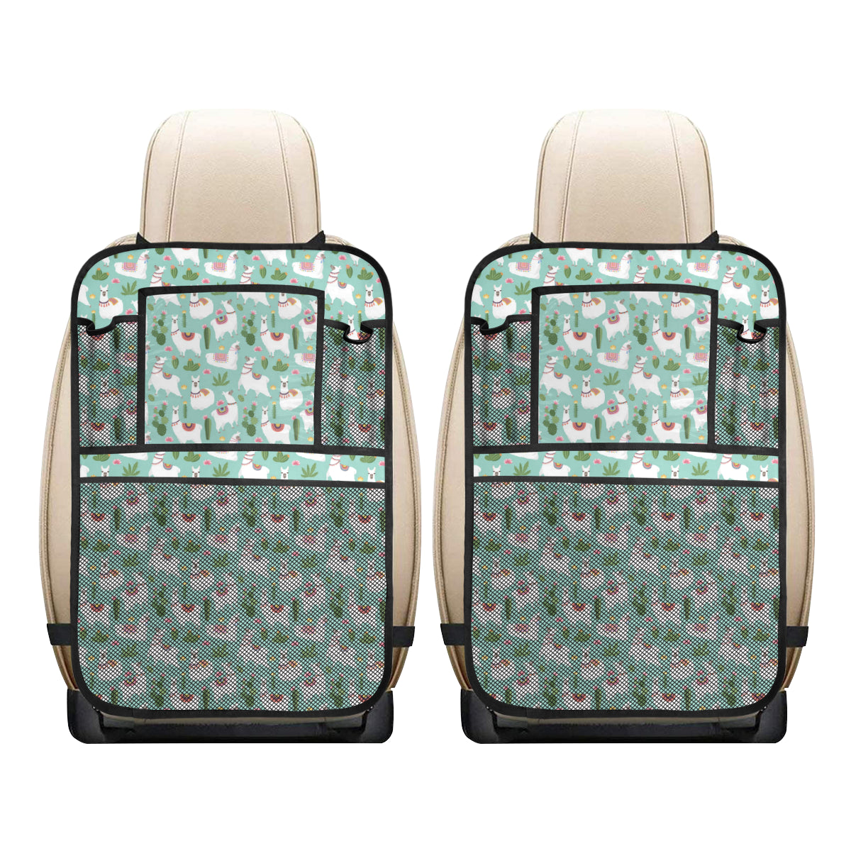 Llama with Cactus Themed Print Car Back Seat Organizer