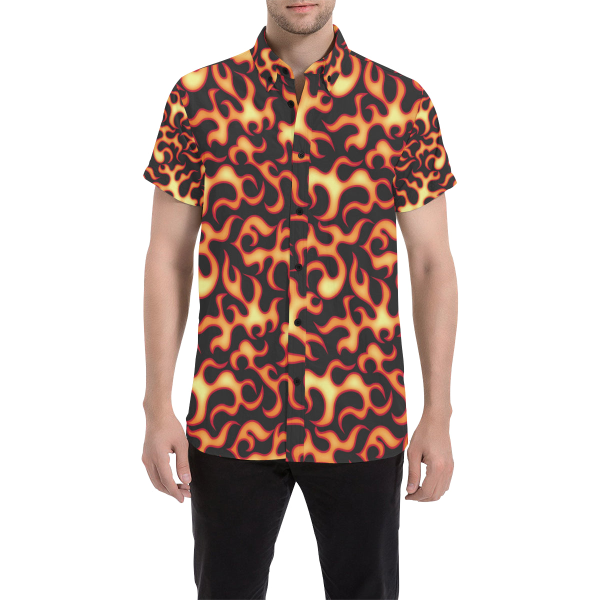 Flame Fire Themed Print Men Button Up Shirt