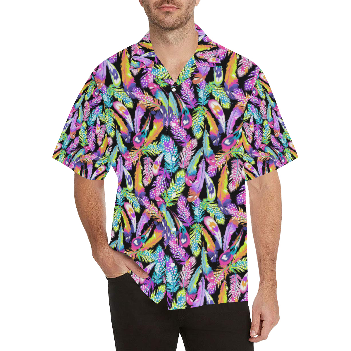 Neon Feather Pattern Print Design A02 Hawaiian Shirt