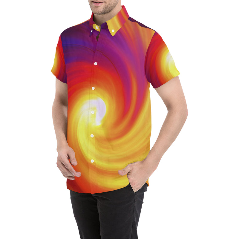 Vortex Twist Swirl Flame Themed Men Button Up Shirt