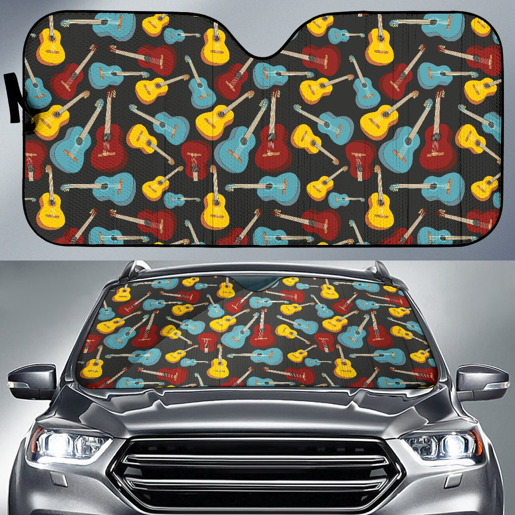 Acoustic Guitar Pattern Print Design 01 Car Sun Shade-JORJUNE.COM