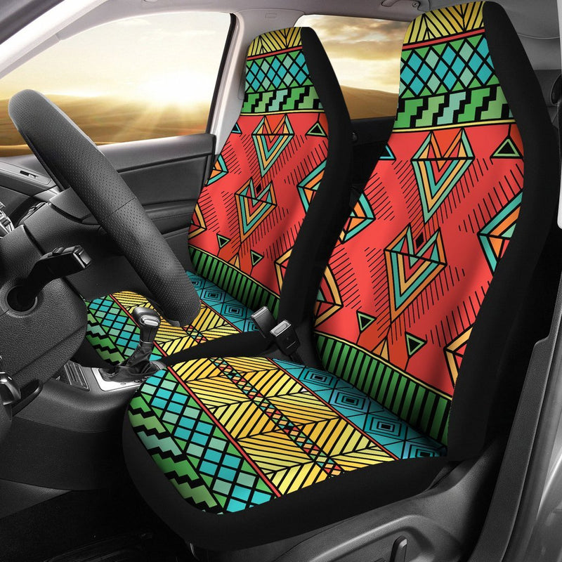 African Colorful Zigzag Print Pattern Universal Fit Car Seat Covers