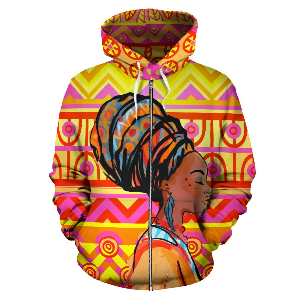 African Girl Aztec All Over Zip Up Hoodie