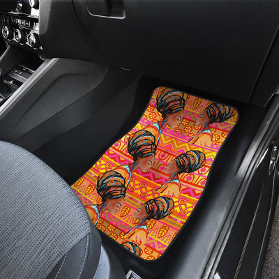 African Girl Aztec Front and Back Car Floor Mats