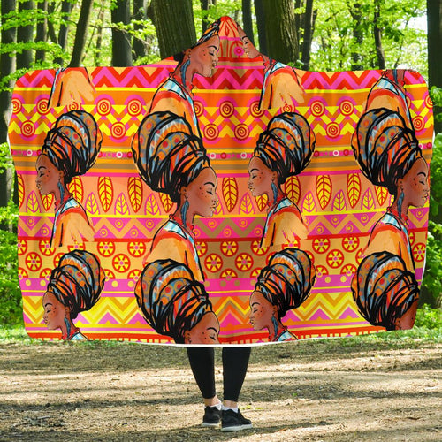 African Girl Aztec Hooded Blanket-JORJUNE.COM