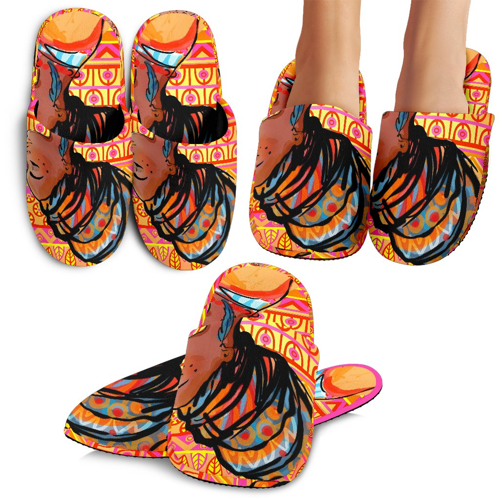 African Girl Aztec Slippers