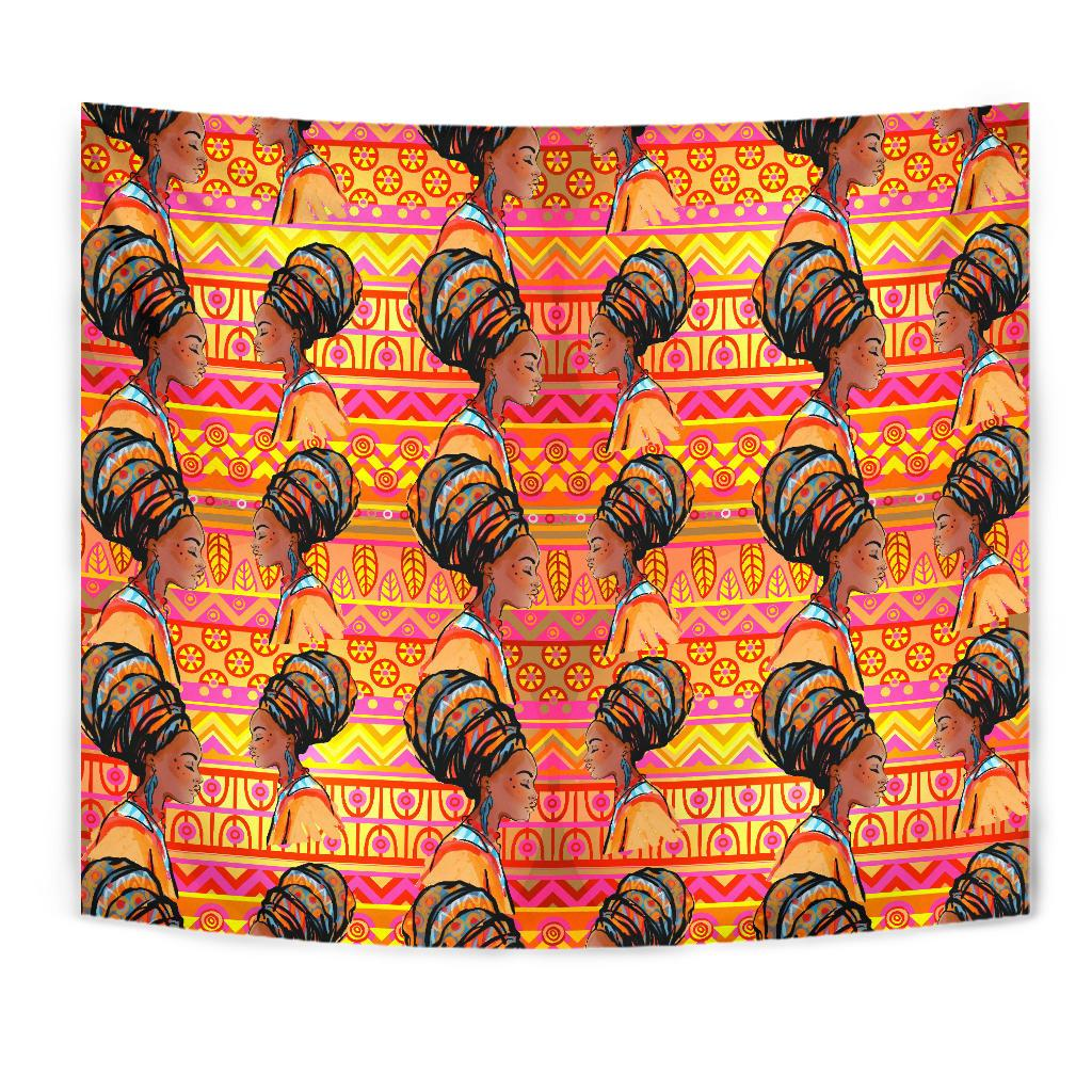 African Girl Aztec Tapestry