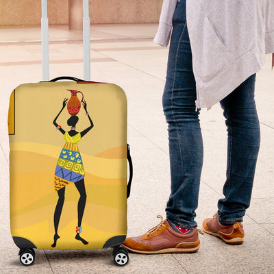 African Girl Design Luggage Cover Protector