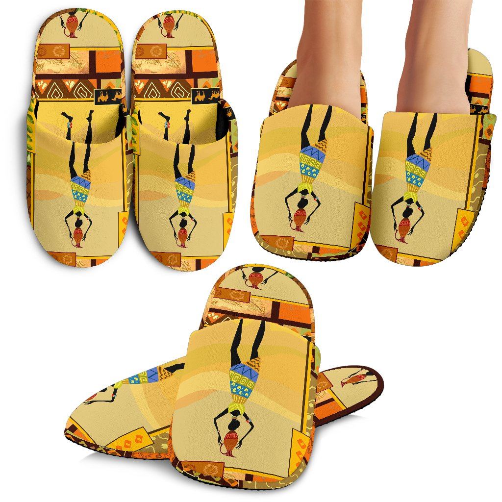 African Girl Design Slippers