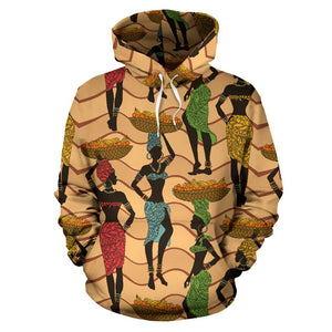 African Girl Pattern All Over Print Hoodie
