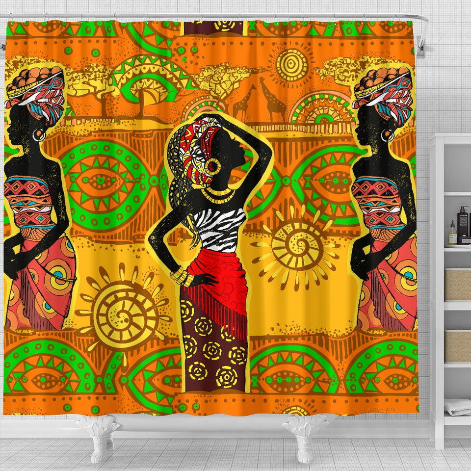 African Girl Print Shower Curtain