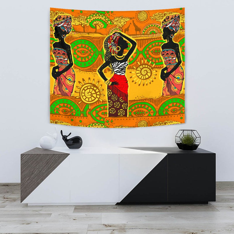 African Girl Print Wall Tapestry