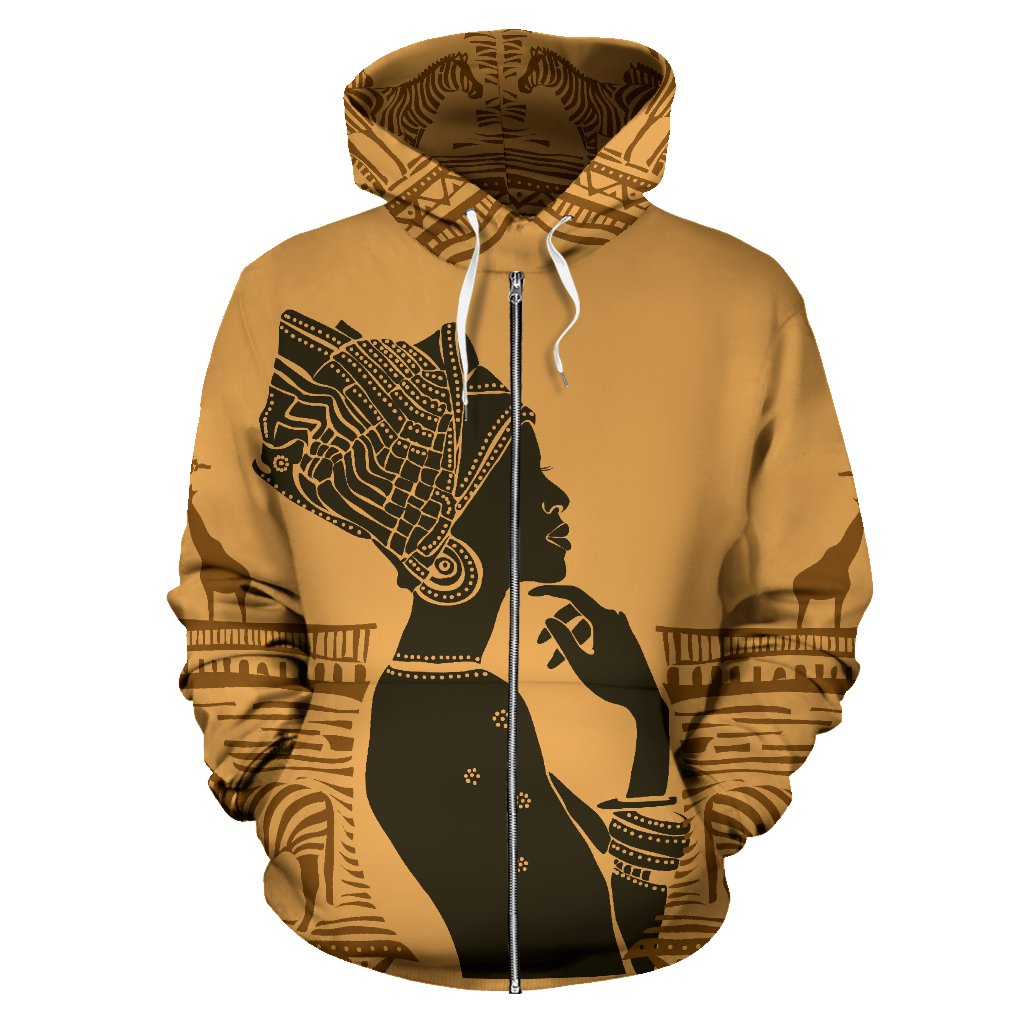African Girl Safari All Over Zip Up Hoodie