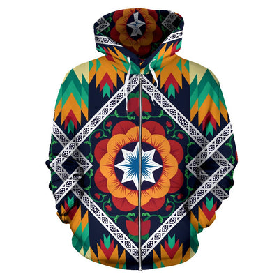 African Kente All Over Zip Up Hoodie