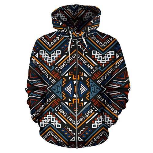 African Kente Print All Over Zip Up Hoodie