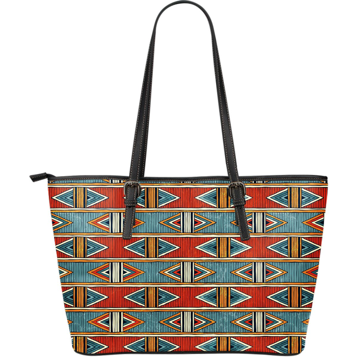 African Kente Print Large Leather Tote Bag