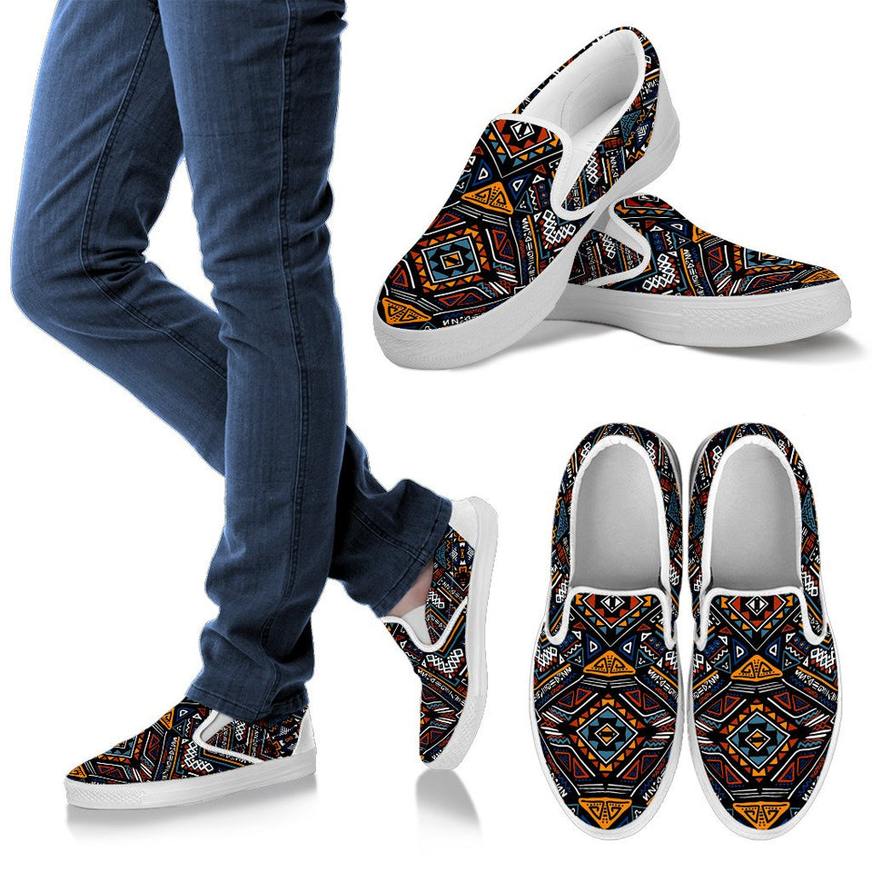 African Kente Print V2 Men Slip On Shoes