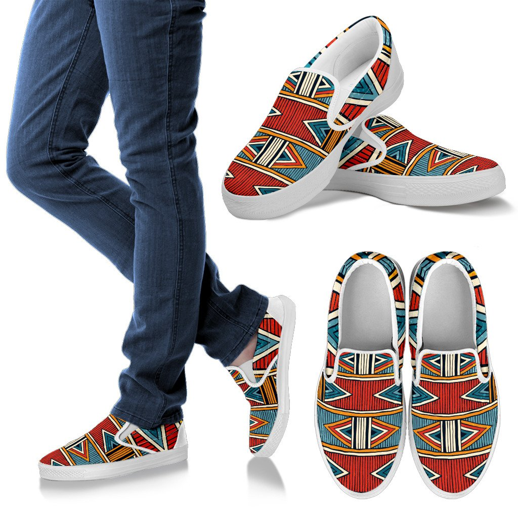 African Kente Print Women Canvas Slip On Shoes