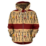 African People All Over Zip Up Hoodie